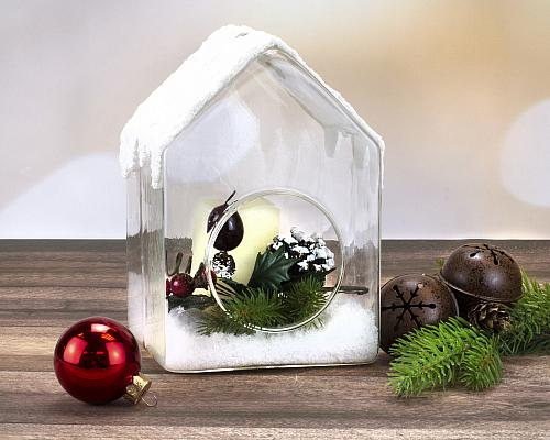 Snow-Topped Glass Birdhouse