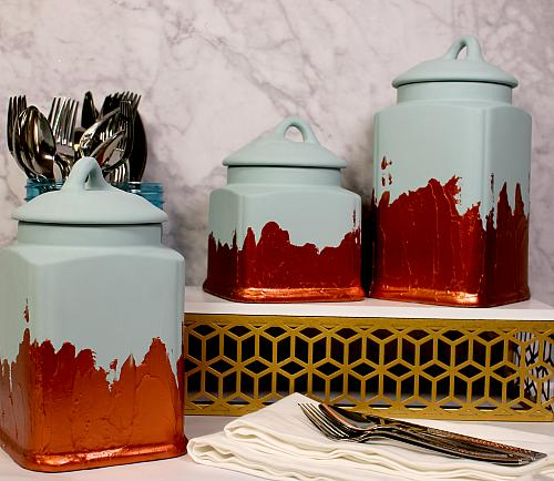 Distressed Kitchen Canister Set - Project by DecoArt