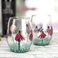Floral Stemless Wineglasses