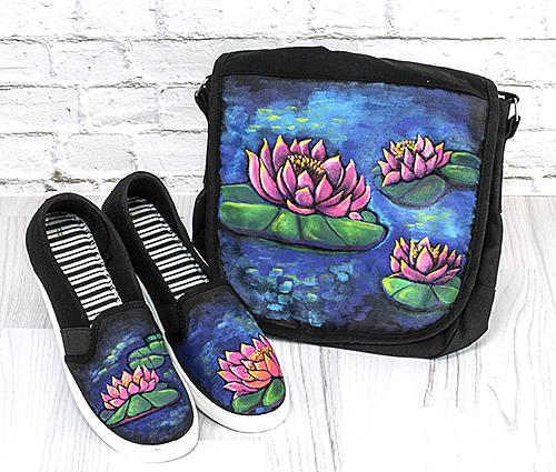 Beautiful Waterlily Messenger Bag and Shoes