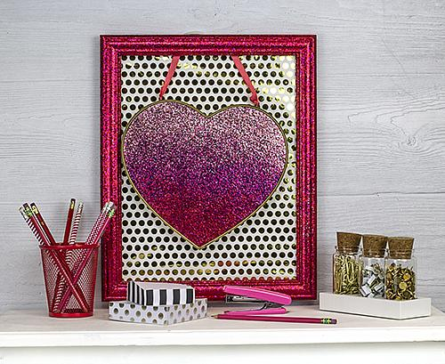 Floating Framed Glittered Heart