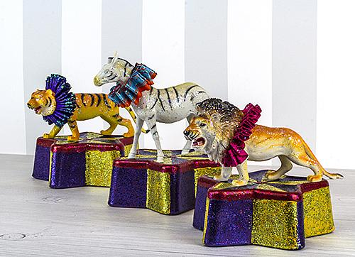 Glittered Circus Animals and Stands