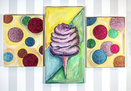 Glittered Cotton Candy Canvas Painting