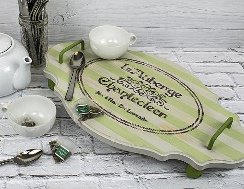 DIY Chalky Finish Tray with Shadow Stripes