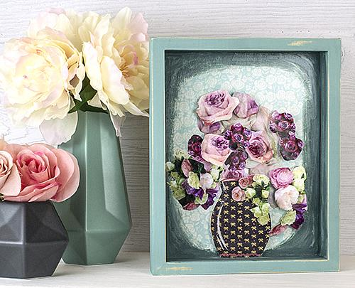 Decoupaged Flowers in A Shadowbox