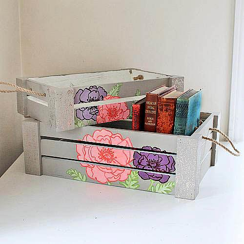 Painted Floral Wooden Crates