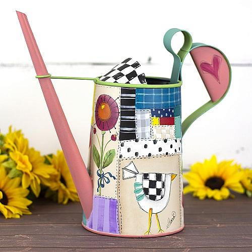 Patchwork Painted Watering Can