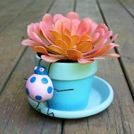 Painted Pot with Ladybug