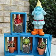 Painted Gnome and Boxes