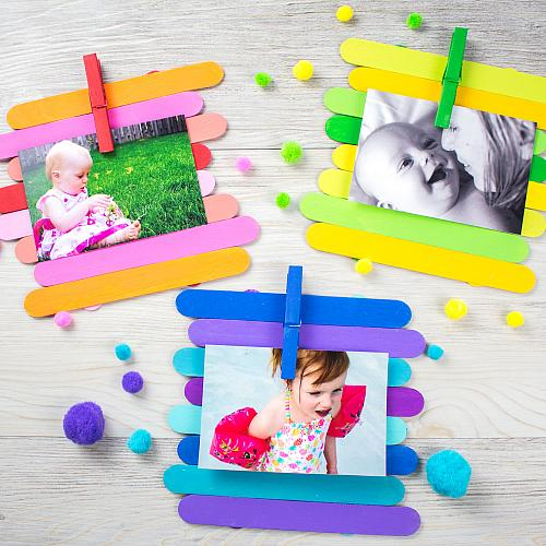 Colorful Craft Stick Photo Display