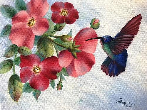Hummingbird and Wild Roses