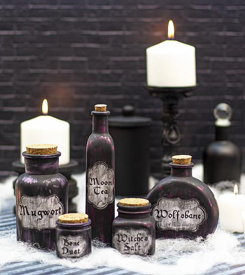 Halloween Antiqued Apothecary Jars