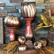 DIY Matte Metallic Pumpkin Mantel