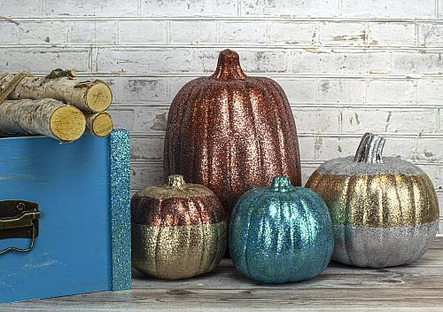 Glittered Fall Pumpkins and Crate