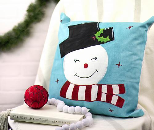 Retro Snowman Pillow with SoSoft