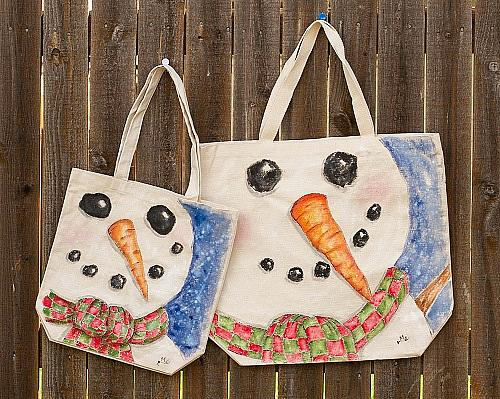 Smiling Snowman Tote
