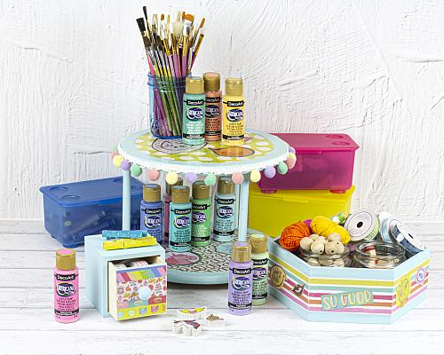 Decoupaged Craft Room Organization Set