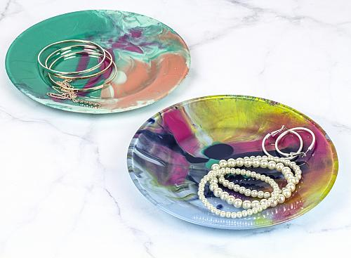 Uber Colorful Reverse Paint Poured Trinket Dishes