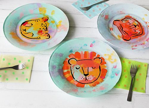 Wild Cat Reverse Painted Plates