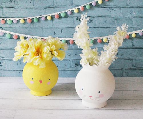 Chick and Bunny Vase Set