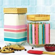 Striped Glass Canisters