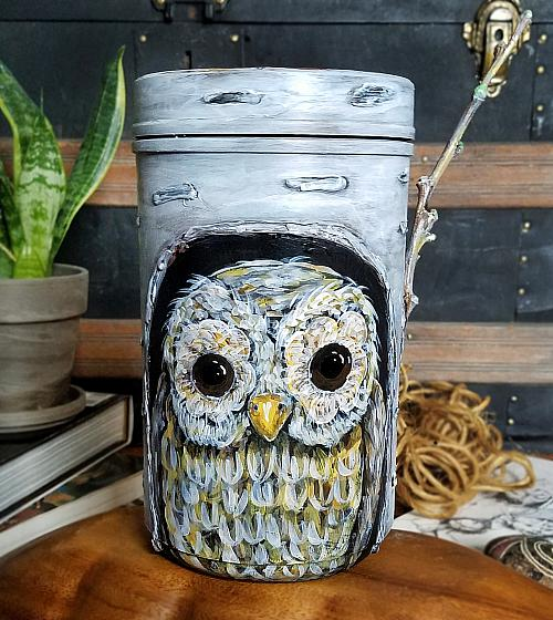 Owl in A Tree Plastic Container