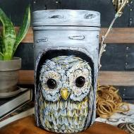 Owl in A Tree Container