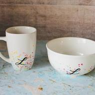 Splattered Bowl and Cup