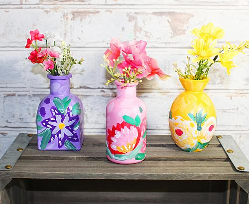 Cheery Painterly Floral Vase Trio