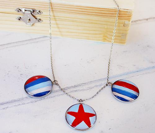 Fourth of July Stars and Stripes Necklace