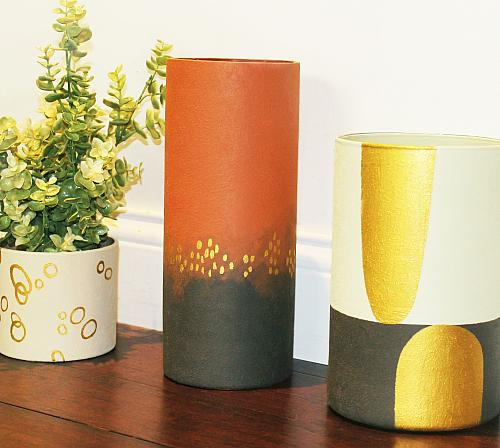 Modern Suede and Metallic Vase Trio