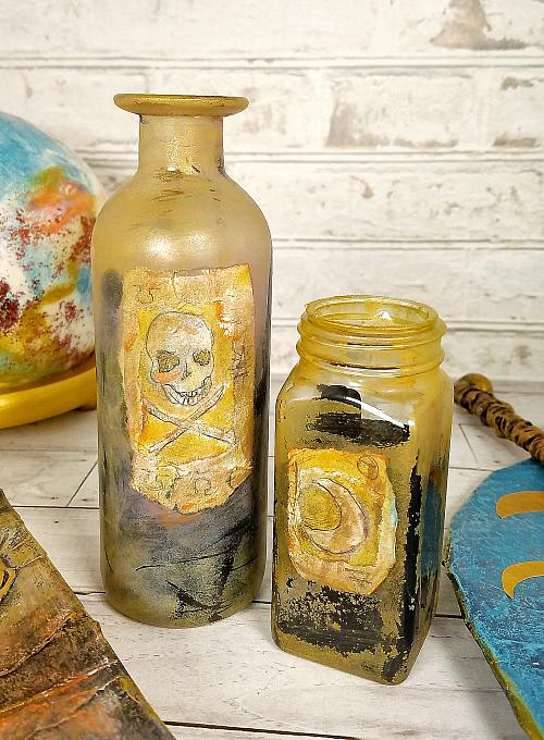 Painted and Poured Glass Potion Bottles