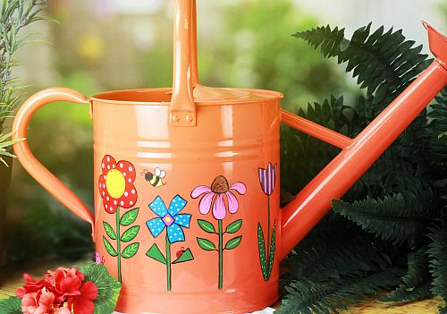 Springtime Watering Can and Polka Dot Pots
