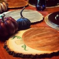 Wood Slice Pumpkin Chargers