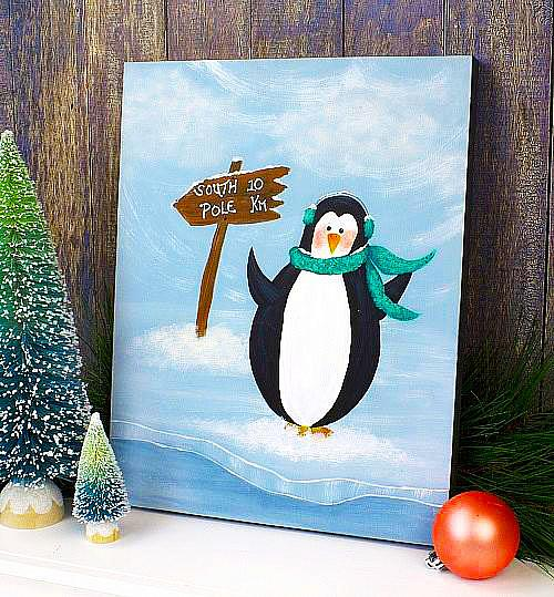 Winter Acrylic Painting | Perry the Penquin