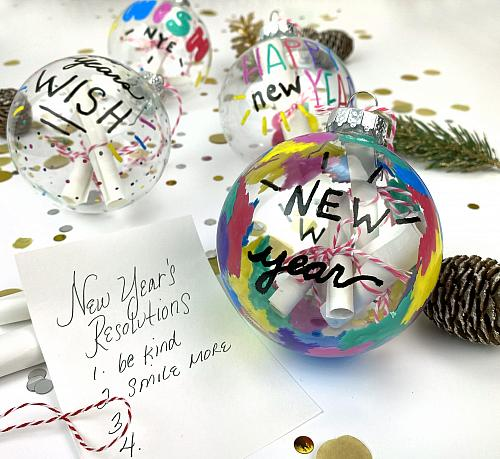 New Year's Glass Paint Marker Wish Ornaments