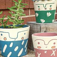 Painted Face Planters