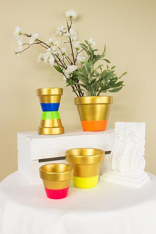Assorted Metallic and Neon Pots