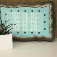 Painted tray with Aztec stencil