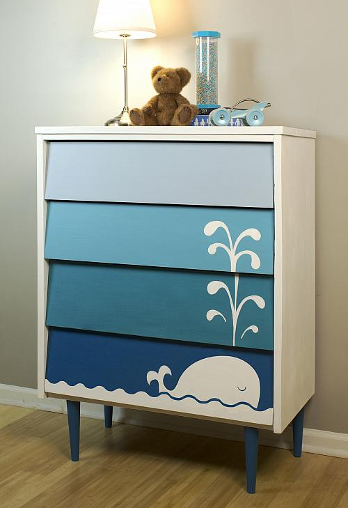 Kid 39 s blue ombre whale dresser project by decoart for Chalk paint muebles ikea