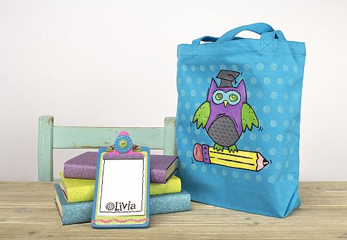 Wise Owl Painted Book Bag