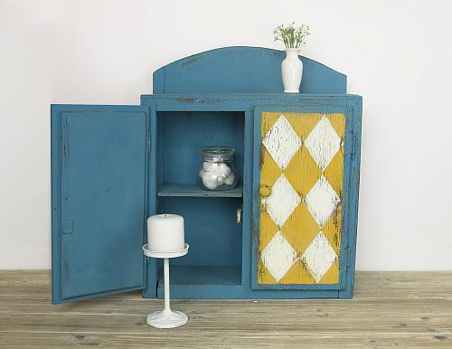 Rustic Turquoise Cabinet with Diamonds - Project by DecoArt