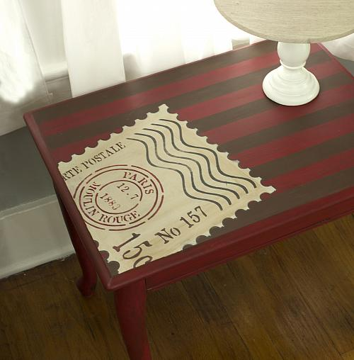 World Traveler Stamp Stenciled Side Table Project By Decoart