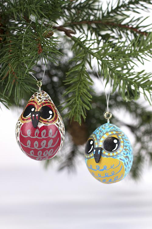 Owl Pair Ornaments From Gourds Project By Decoart