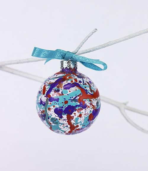 Splatter Ornament Red and Blue
