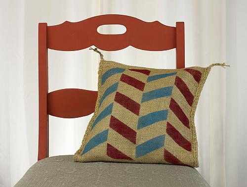 Modern Zig-Zag Stenciled Pillow