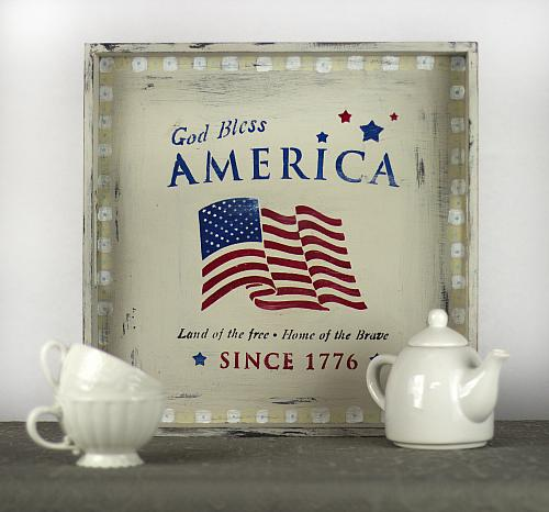 God Bless America Stenciled Tray