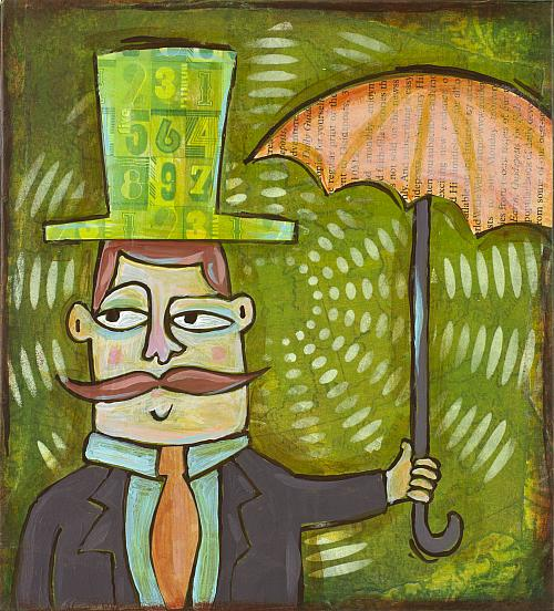 Rainy Day Man Mixed Media