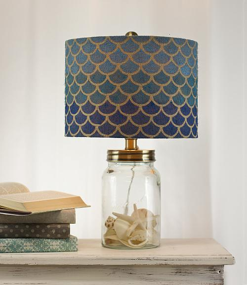 Fish Scale Stenciled Lampshade
