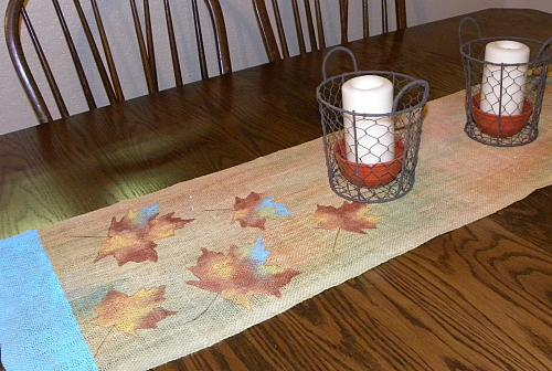Fall Leaves Painted Table Runner   Project By DecoArt
